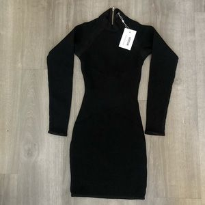 SOFIA RICHIE X MISSGUIDED BLACK BANDAGE DRESS